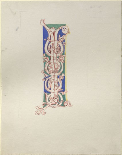 Drawing of an initial 'I' from the Arnstein Bible