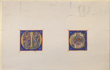 Drawing of an illuminated initial 'M' and 'C' from a Manuscript of the late Twelfth or early Thirteenth Century
