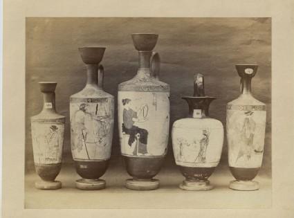 A Photograph of five Greek Ceramics