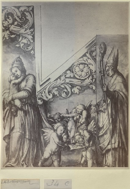 Photograph of Holbein's Sketch for the right Organ Door of the Münster at Basel