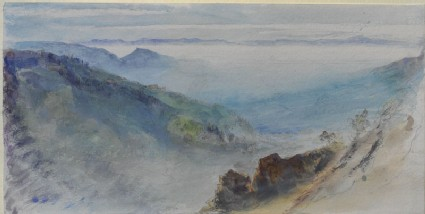 Autumnal Cloud filling the Valley of Geneva, the Jura rising out of it, seen from the Brezon above Bonneville