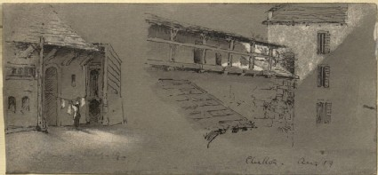 Two Studies of Architecture at Chillon (Leaf from a Sketch-Book)
