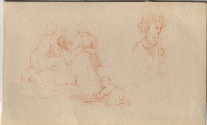 A Study of Women and Children, and a Study of a Child (Leaf from a Sketch-Book)