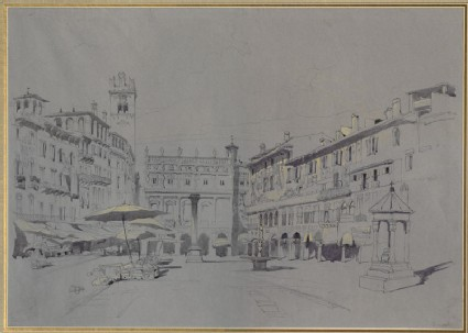 Study for Detail of the Piazza delle Erbe, Verona