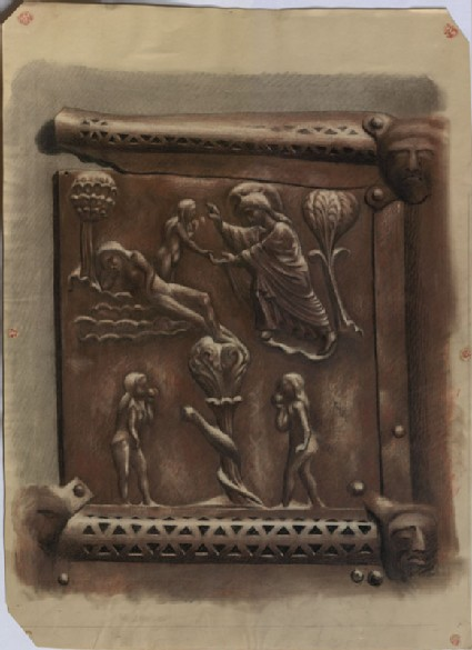 Drawing of the Creation of Eve and Temptation from the Bronze Doors of San Zeno Maggiore, Verona, enlarged from a Photograph