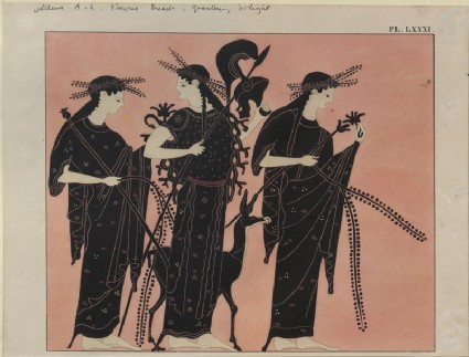 Print of the Decoration on a Greek Amphora, showing Athena with attendant Nymphs