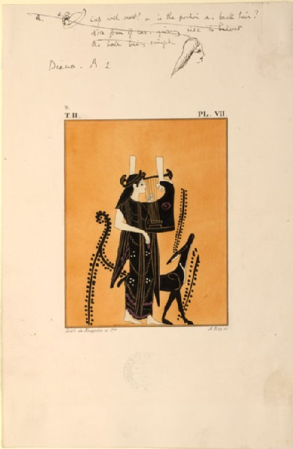 Print of the Decoration on a Greek Oenochoe, showing Artemis