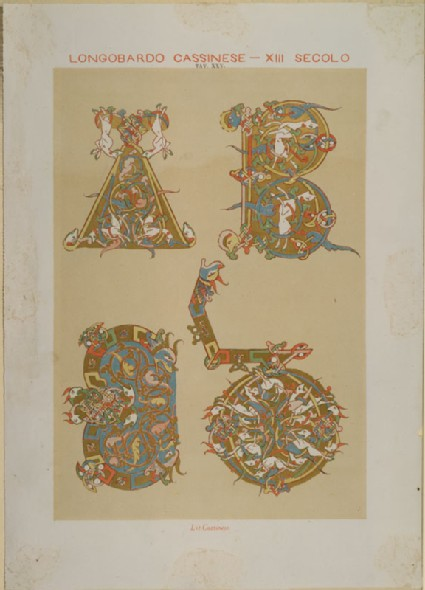 Lithograph of illuminated Letters from thirteenth-century Manuscripts at Monte Cassino