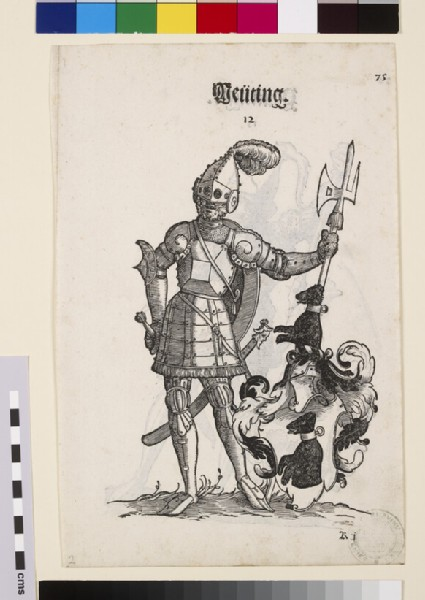 Recto: A Man in Armour with the Arms of Deüting <br />Verso: A Man in Armour with the Arms of Peütinger