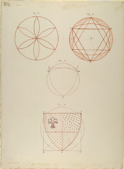 Four Diagrams showing the Construction of the Form of an English Shield