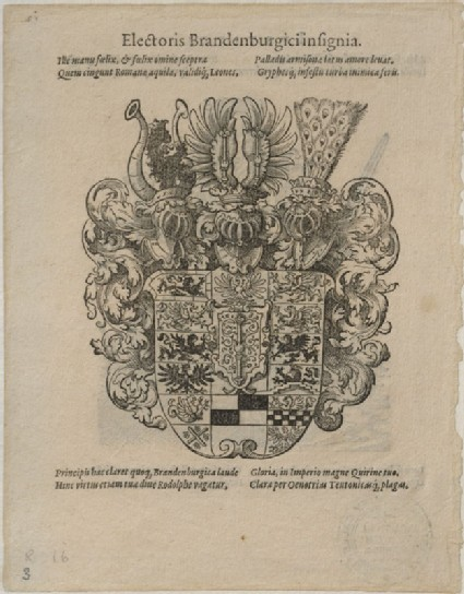 Recto: The Arms of the Elector of Brandenburg 