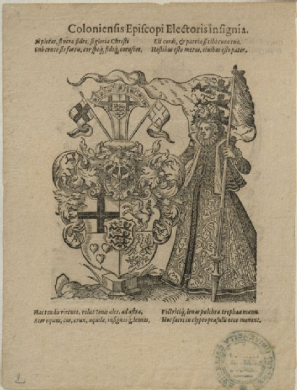 Recto: The Arms of the Elector-Archbishop of Cologne <br />Verso: Concord