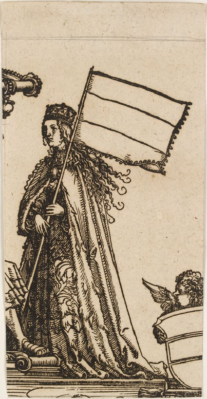 A Woman holding a Banner (cut from a Plate in 'The Triumph of Maximilian')
