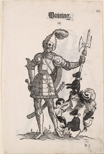 Recto: A Man in Armour with the Arms of Deüting 
