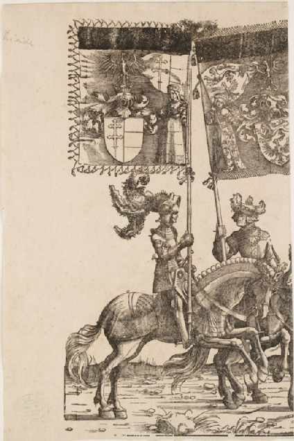 A mounted Knight and a mounted Man holding heraldic Banners (cut from a Plate in 'The Triumph of Maximilian')