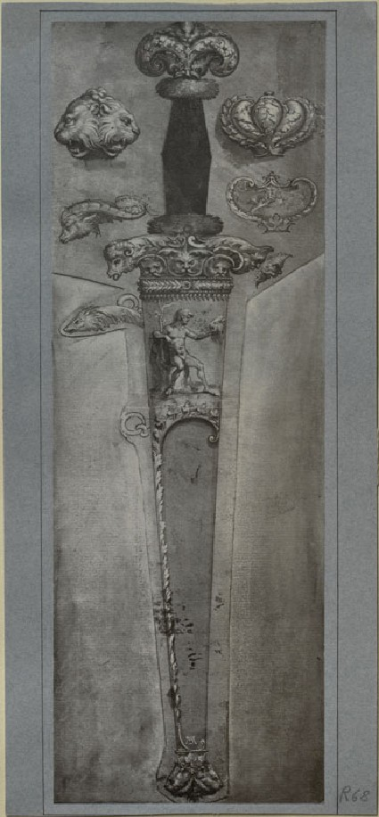 Photograph of a Drawing of a Dagger with Variations on the Decoration attributed to Hans Holbein the younger