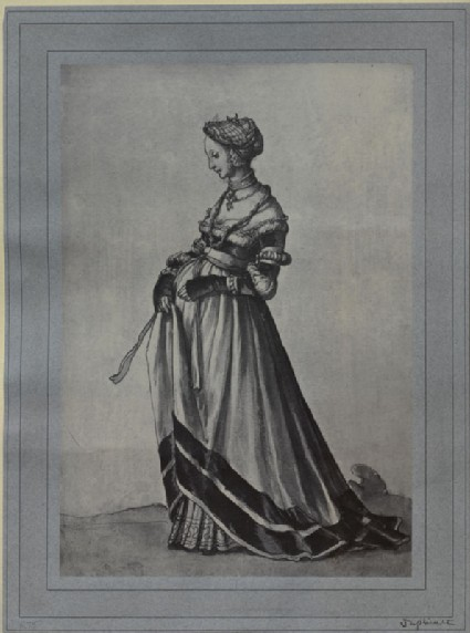 Photograph of Holbein's drawing of a Woman from Basel, walking to the left