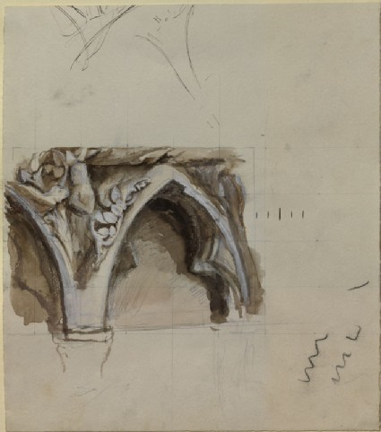WA.RS.RUD.081, Ruskin, John - Sketch of a Spandril in the western Porch of Bourges Cathedral ()