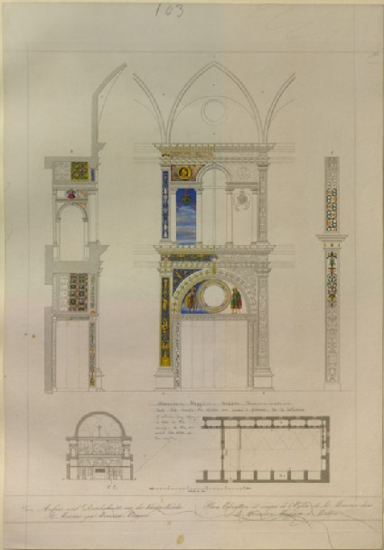 Engraving of the Plan and Elevation of the westernmost Bay on the south Wall of the Lay Hall of San Maurizio al Monastero Maggiore, Milan