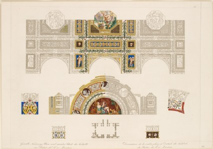 Engraving of the Ceiling and Lunette of 'David the Psalmist' from the Garden Loggia of the Palazzo del Te