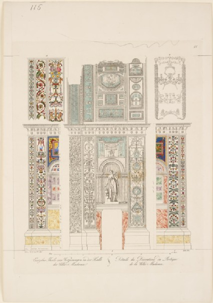 Engraving of the Vault and Wall of the Entrance Hall of the Villa Madama