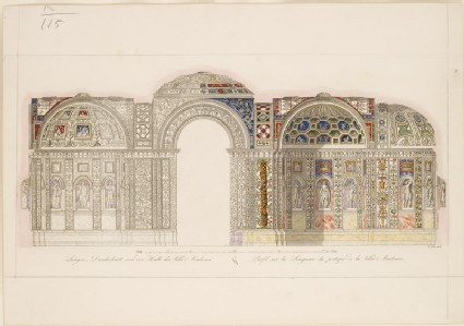 Engraved Elevation of the north-western Wall and Vaults of the Loggia of the Villa Madama