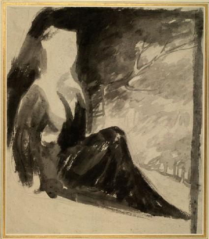 A seated figure