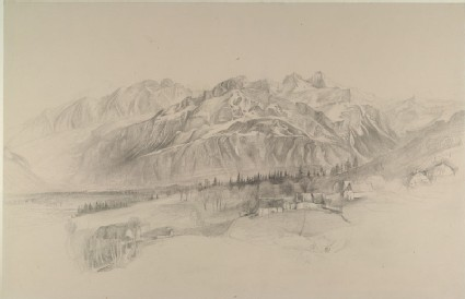 The Brezon and Alps of the Reposoir, seen from Mornex: finished pencil sketch from nature