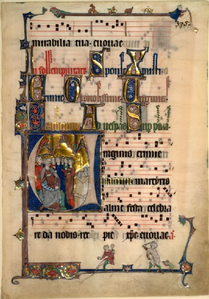 Illuminated page from the Beaupré Antiphonary, with the Magnificat Antiphon in the Office of Saint Clement and the Vespers Antiphon of the Office of Saint Catherine
