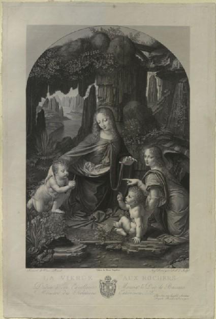 Engraving of Leonardo da Vinci's 'Virgin of the Rocks' ('La Vierge aux Rochers')