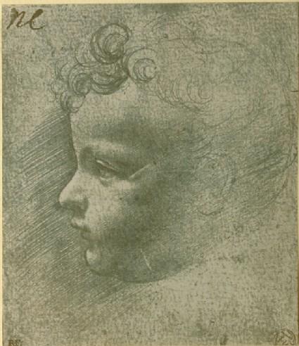 Photograph of a Study of the Head of a Child in Profile by Leonardo da Vinci or Giovanni Antonio Boltraffio