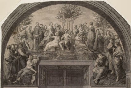Engraving of Raphael's Fresco of 'Parnassus' in the Stanza della Segnatura