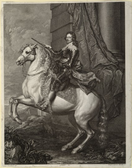 Engraving of van Dyck's Portrait of Prince Francesco Tommaso di Savoia-Carignano on horseback