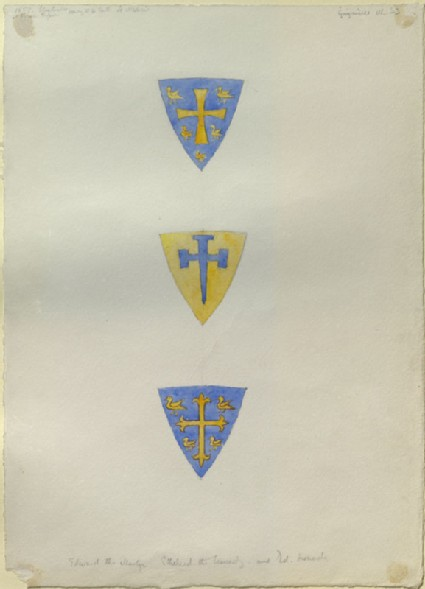 Three Shields carrying Arms, said by Ruskin to be those of King Edward the Martyr, King Ethelred the Unready, and King Edmund Ironside