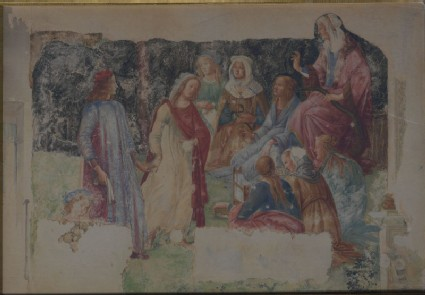 Drawing of Botticelli's fresco of 'Lorenzo Tornabuoni presented to the Liberal Arts'