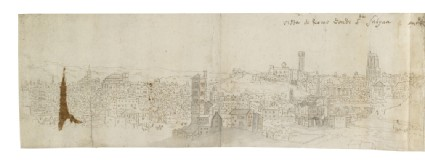Recto: Panoramic View of Rome from the Aventin, stretching from Santa Maria dell'Anima to Santa Prisca