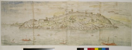 Recto: Panoramic View of Tarragona from the South (Seawards)