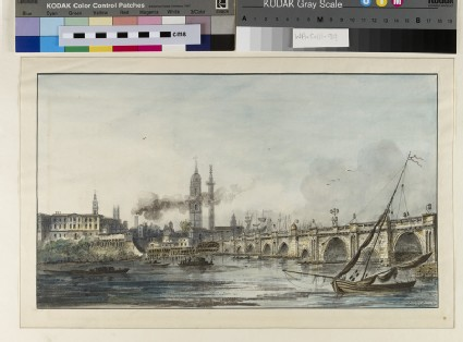 View across the Thames towards the Church of St Magnus and the Monument with London Bridge on the right