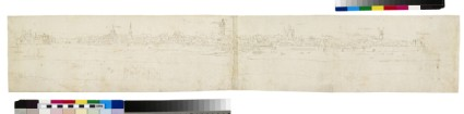 Recto: Panoramic View of Sluis from the North, across the River<br />Verso: Sketches of the West and South Gates of Sluis and other details