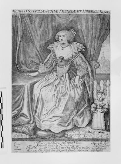 Portrait of Henrietta Maria (1609-1669) seated on a terrace