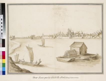 View of Orléans from the south Bank of the Loire, with a floating Mill in the foreground
