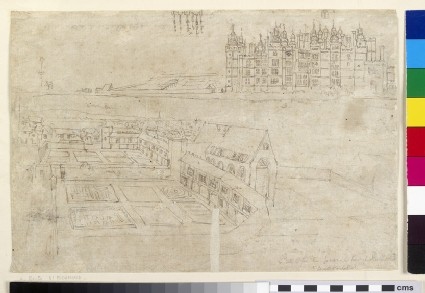 Recto: The River Front of Richmond Palace and Privy Gardens <br />Verso: The Inner Courtyard of Oatlands Palace and the Outer Wall
