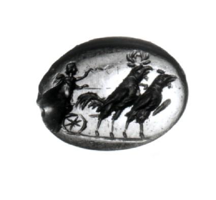Intaglio, Eros in chariot drawn by cockerels