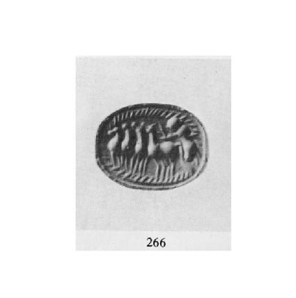 Scaraboid sealstone, four horse chariot