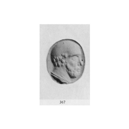 Ringstone with head of beared bald philosopher