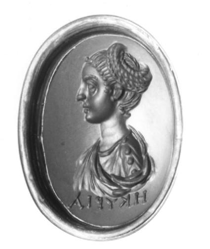 Intaglio gem, portrait bust, female inscribed 'HKYPIA'