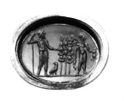 Intaglio gem, Zeus and Hermes with legionary standards