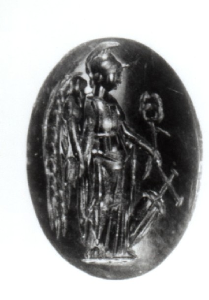 Intaglio gem, pantheistic goddess with attributes of Athena, Nike, Hermes and Tyche