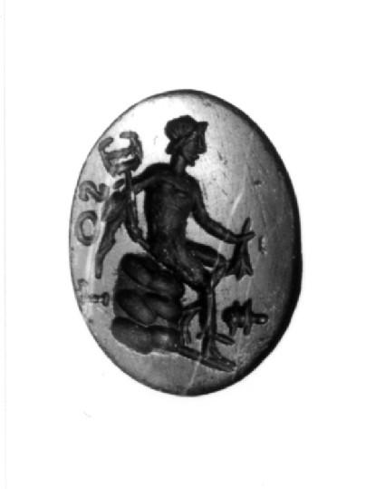 Intaglio gem, Hermes inscribed 'LOS'