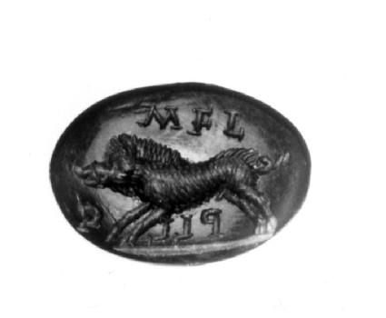 Intaglio gem, boar, with inscription